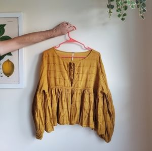Free People Tie Neck Balloon Sleeve Mustard Top